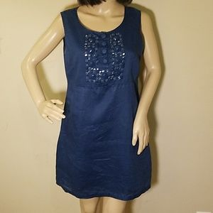 Michael Kors Beaded Blue Shift Dress